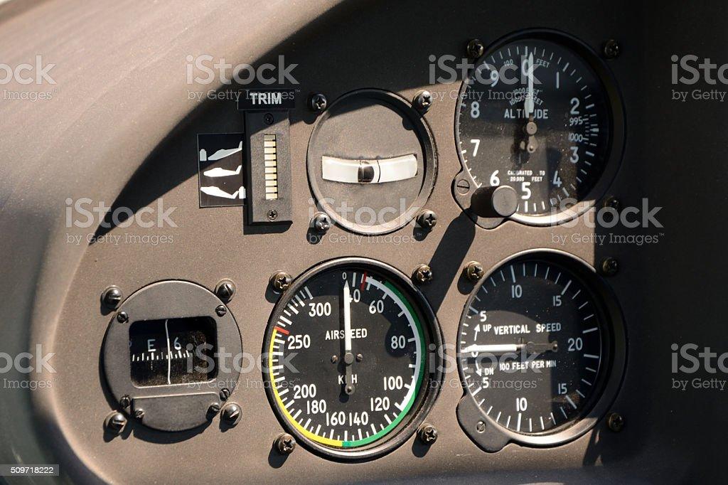 Flight instruments in airplane cockpit stock photo