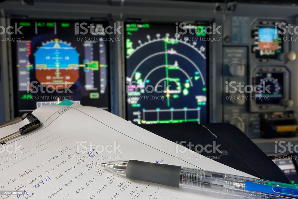 Flight Log Sheet stock photo