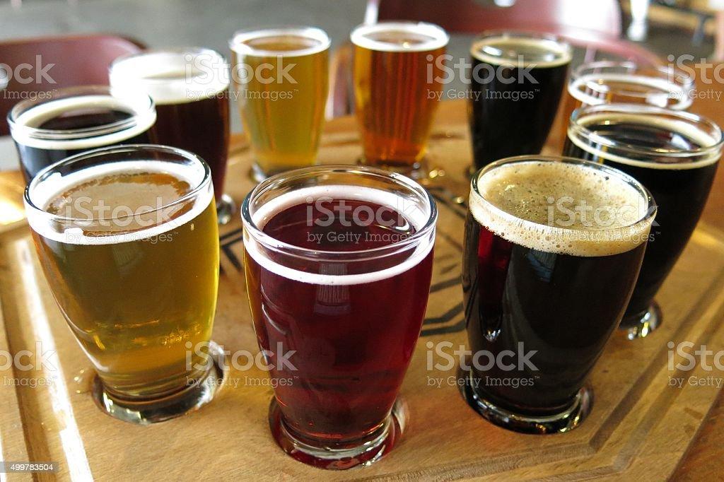 flight of beers at a beer tasting stock photo