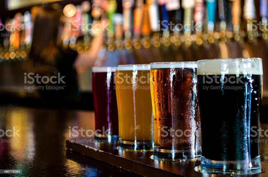 Flight of Craft Beer stock photo