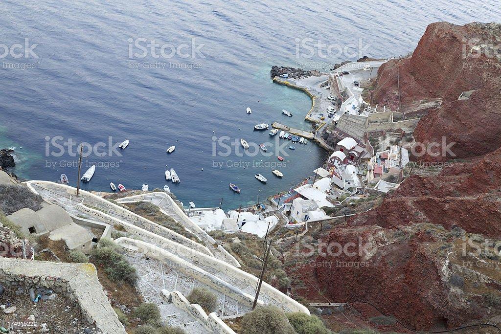 Flight of steps to Ammoudi Harbor in Oia. Santorini. Greece. stock photo