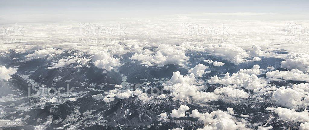 flight over Austrian alps near Salzburg royalty-free stock photo
