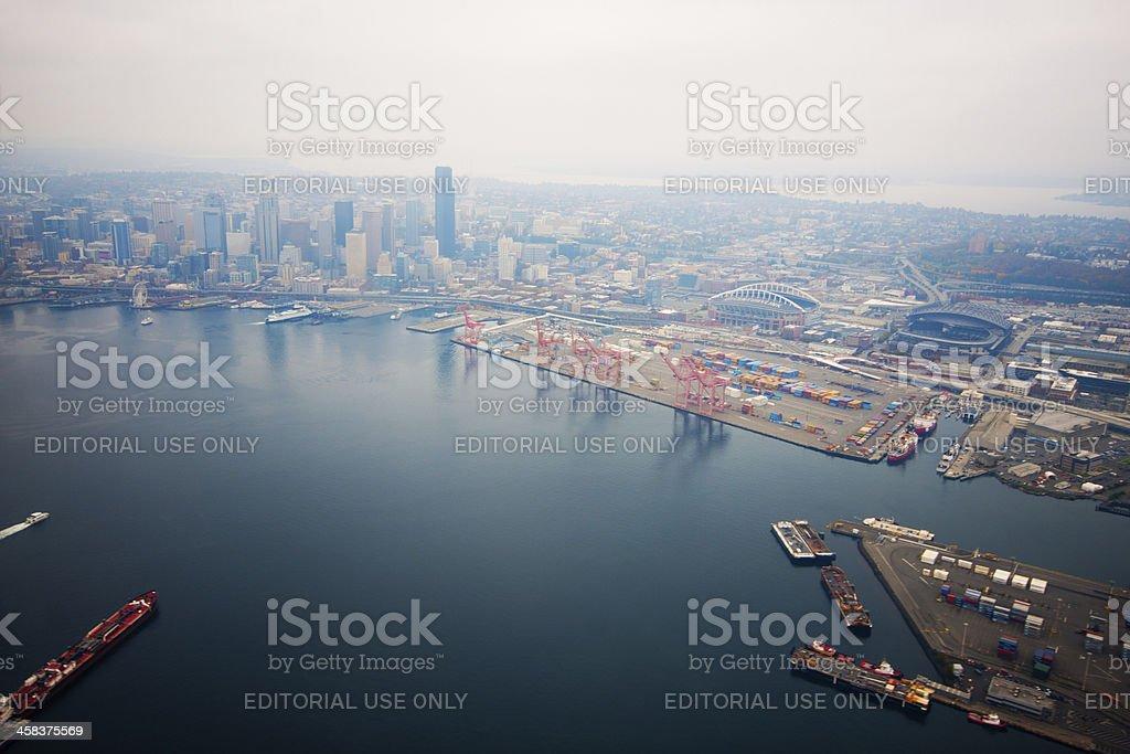 Flight Over Elliot Bay - Seattle Waterfront stock photo