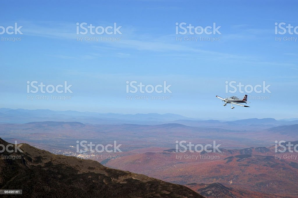Flight over Mount Washington stock photo