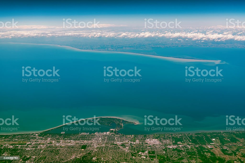 Flight over the Lake Erie, North America stock photo