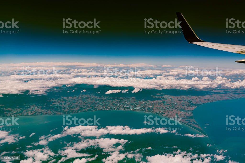 Flight over the Lake Erie, North America stock photo