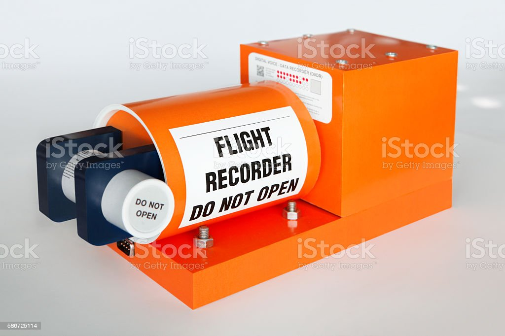 Flight recorder known as black box used in aircrafts stock photo