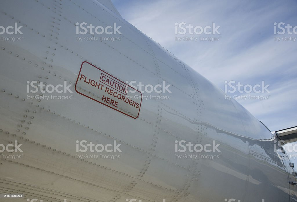 Flight Recorder location on a Commercial Aircraft stock photo