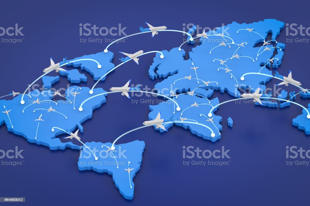 flight route with world map stock photo