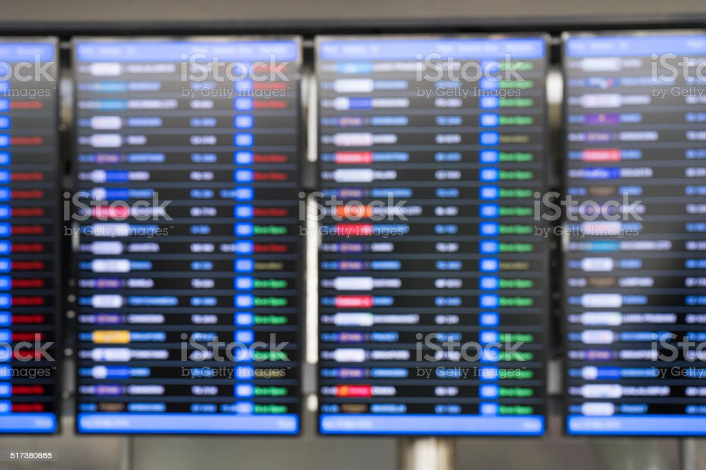 flight schedule board, blur background stock photo