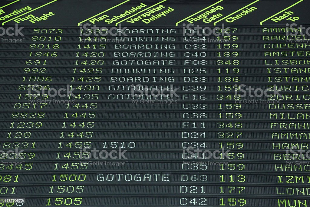 Flight schedule royalty-free stock photo