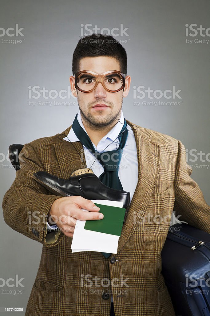 Flight security hassle _ stressed passanger with passport on hand royalty-free stock photo
