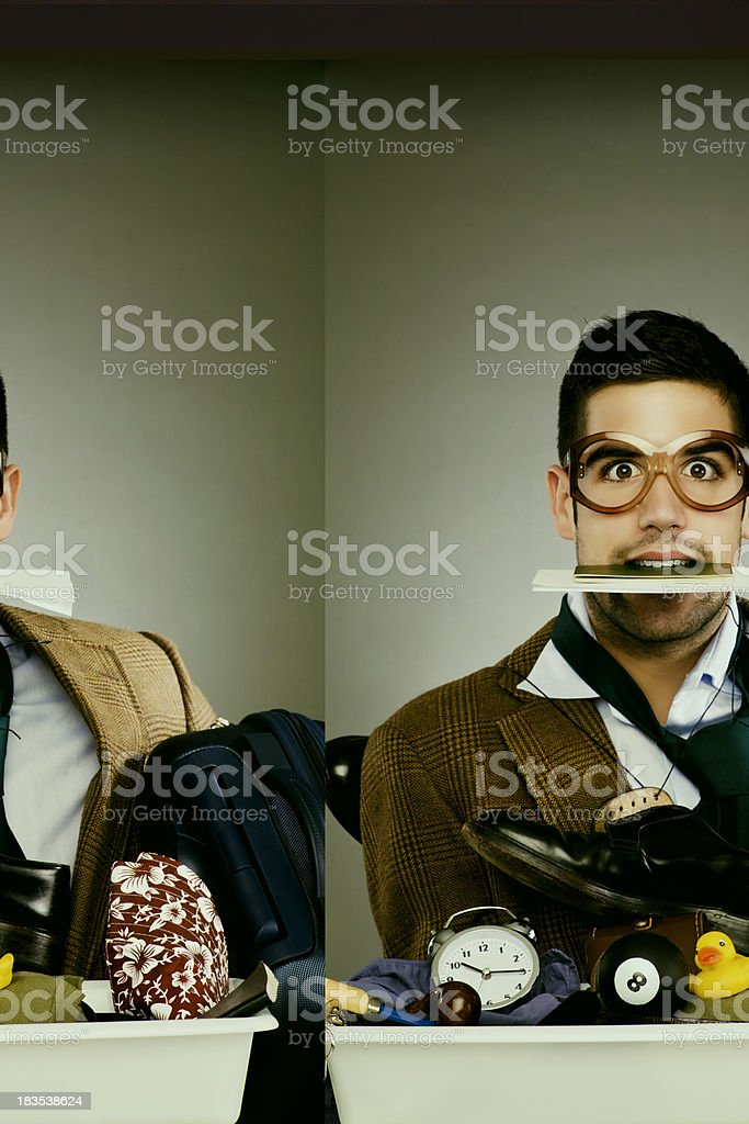 Flight security hassle _ stressed passanger with passport on mouth. stock photo