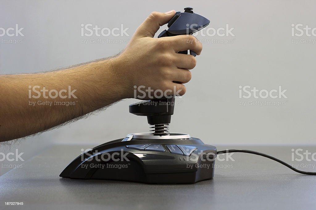 Flight simulator joystick royalty-free stock photo