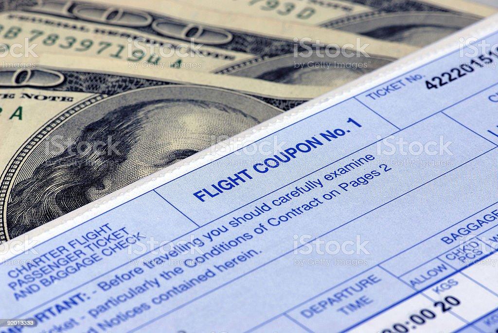 Flight ticket and money royalty-free stock photo