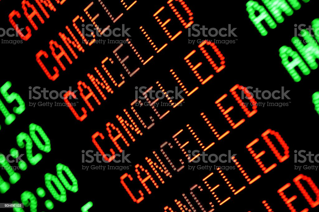 Flights Cancelled - Departures Arrivals Screen / Board / Monitor stock photo