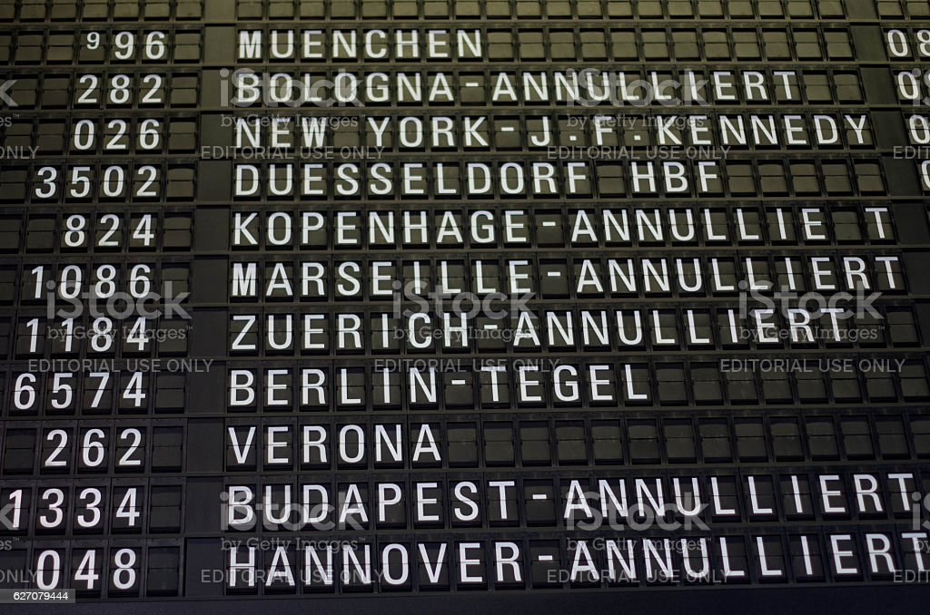 Flights cancelled in Germany stock photo