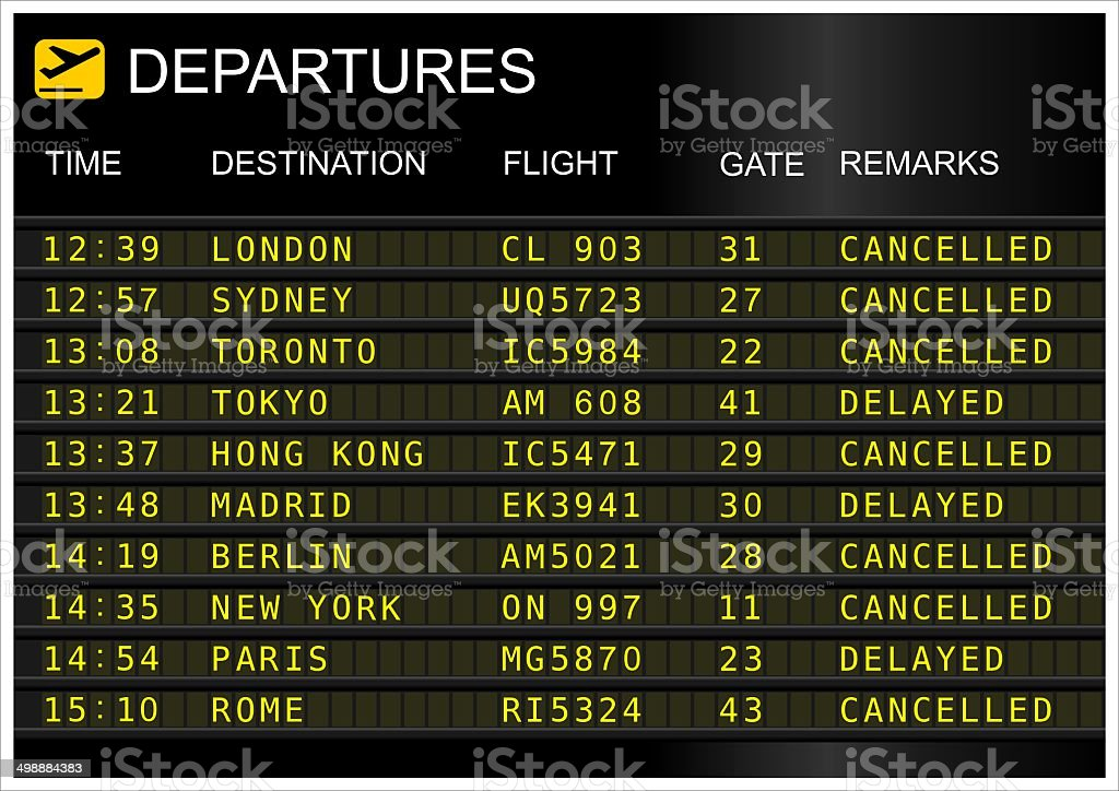 Flights departures board stock photo