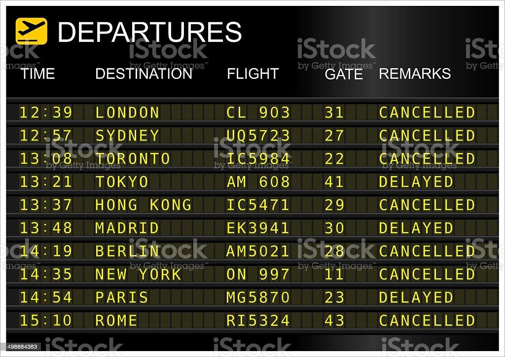 Flights departures board stock photo