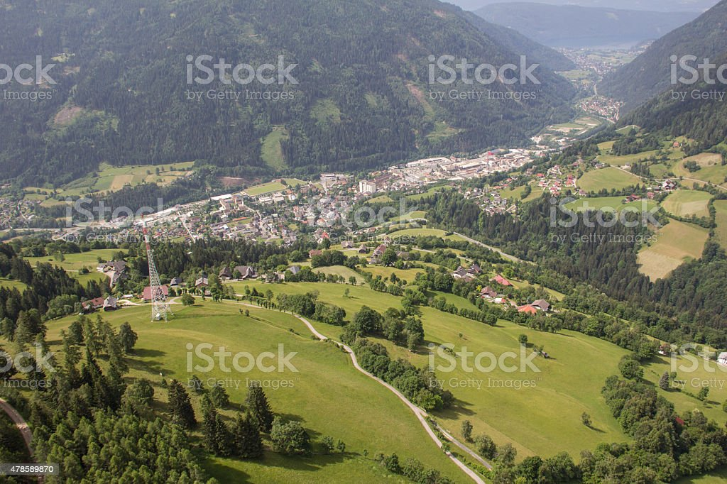 Flightseeing Tour Carinthia Radenthein Mitterberg Bird's Eye View stock photo