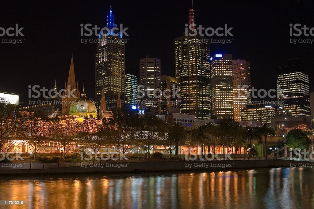 Flinders Street Melbourne Skyline stock photo