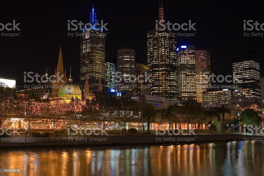 Flinders Street Melbourne Skyline stock photo
