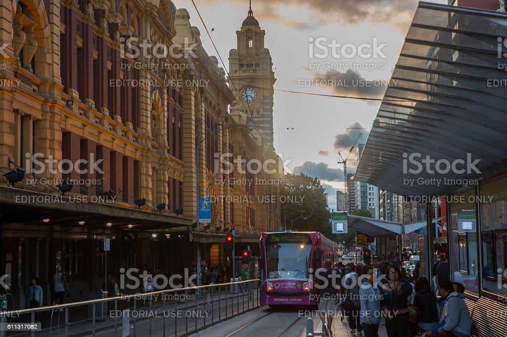 Flinders Street railway station at dusk stock photo