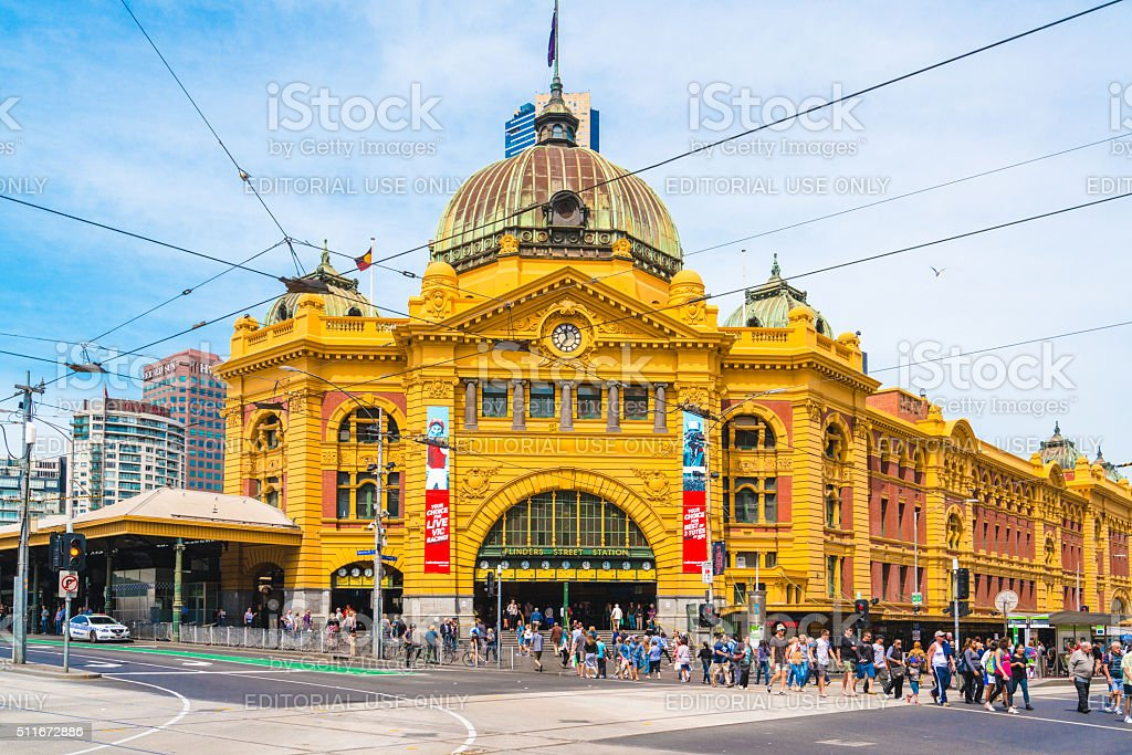 Flinders Street railway station in Melbourne, Australia stock photo