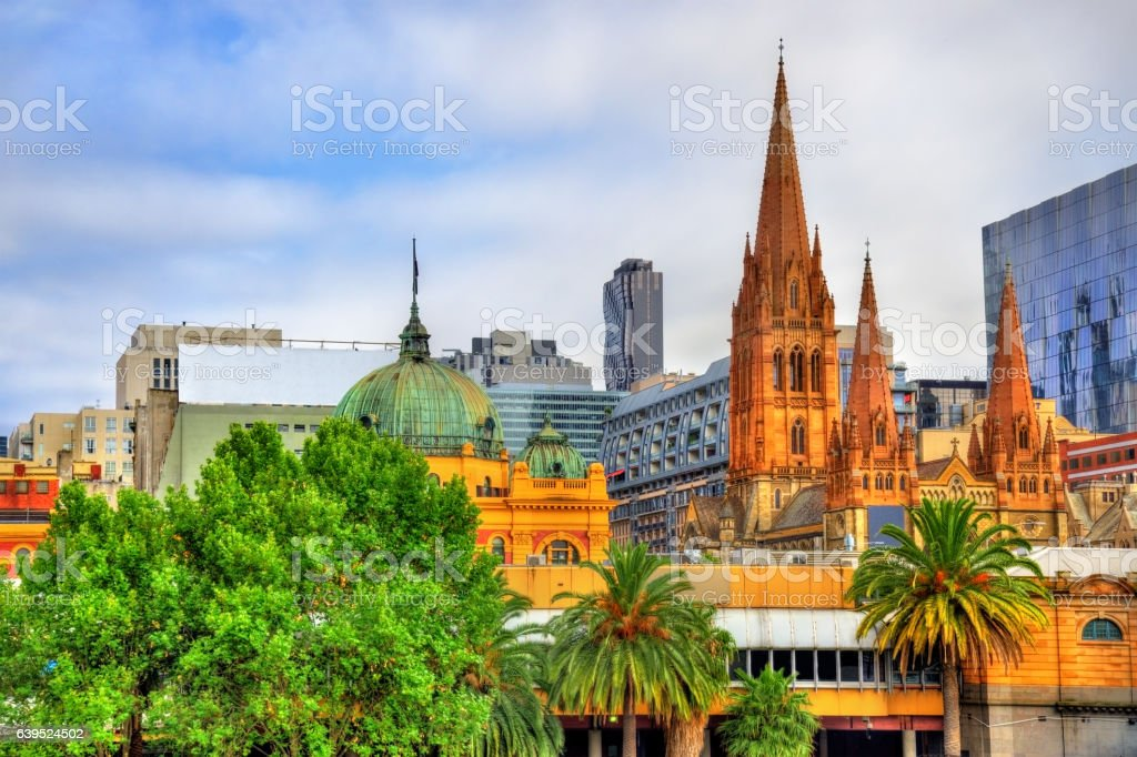 Flinders Street Station and St Paul's Cathedral in Melbourne stock photo