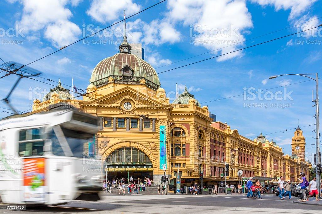 Flinders Street Station and Tram in Melbourne, Australia stock photo