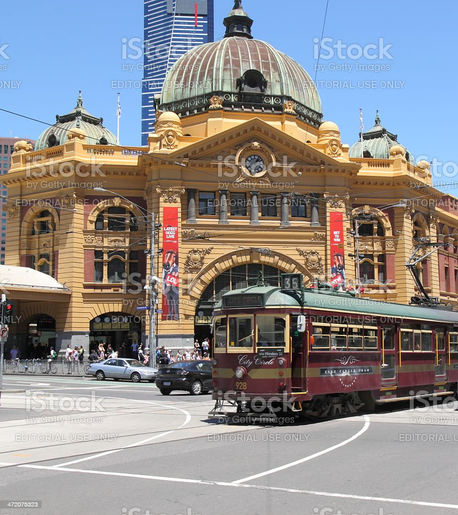 Flinders street station and tram stock photo