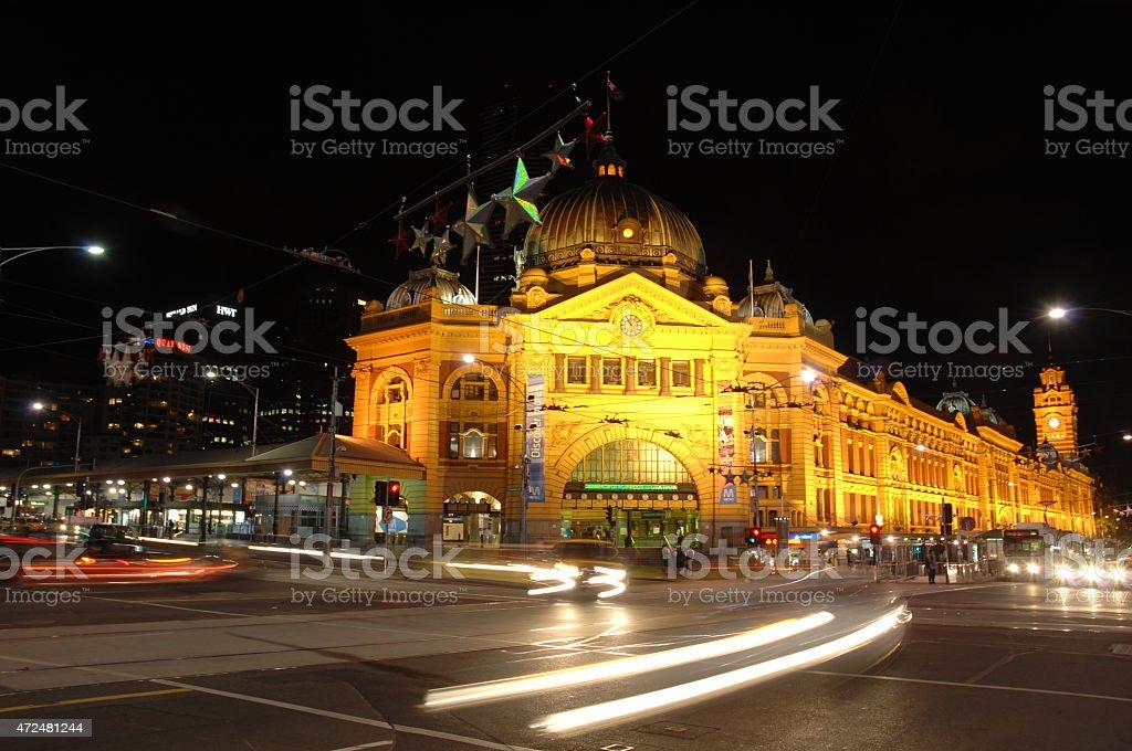 Flinders Street Station at Night stock photo