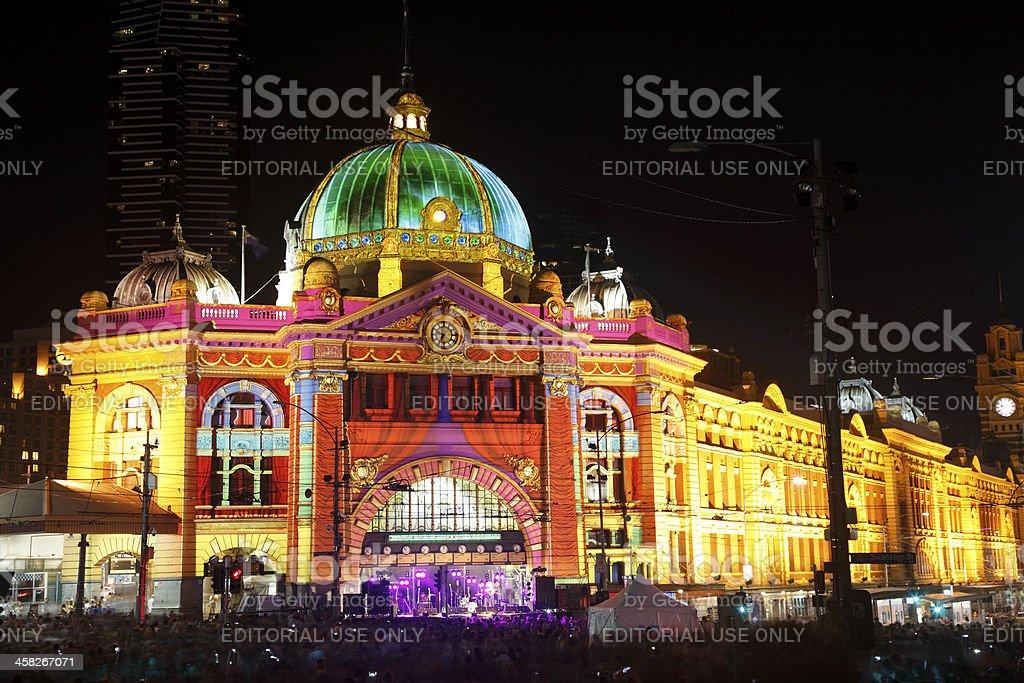 Flinders Street Station in White Night Festival, 2013 stock photo