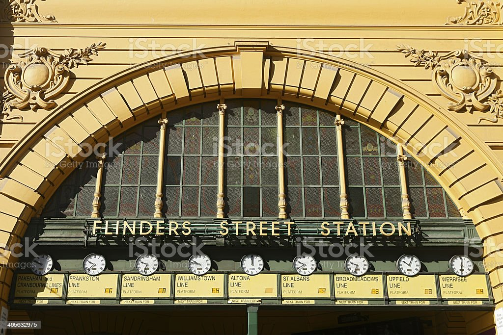 Flinders Street Station with clocks, Melbourne royalty-free stock photo
