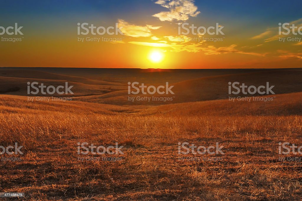 Flint Hills of Kansas Sunset stock photo