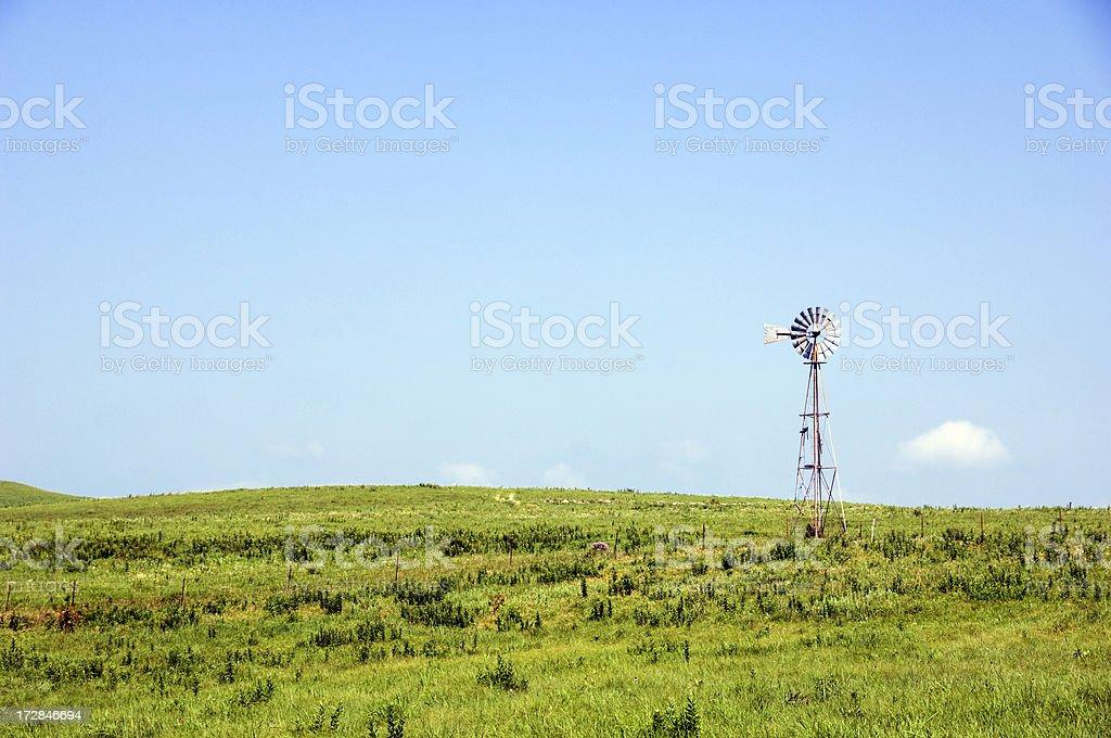 Flint Hills Windmill stock photo