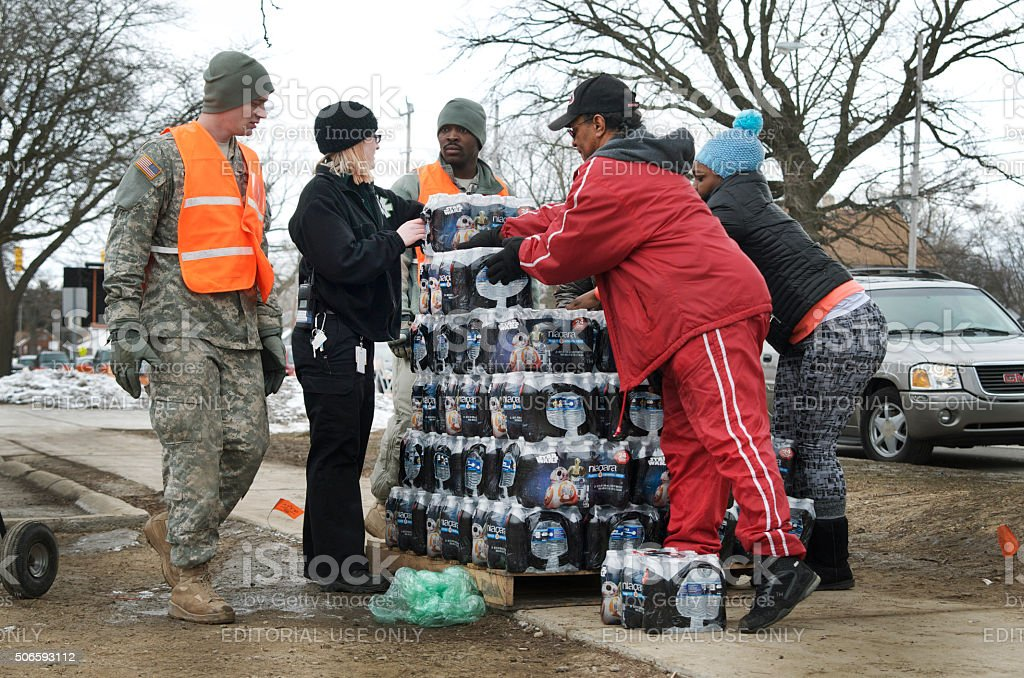 Flint MIchigan Bottled Water Distribution stock photo