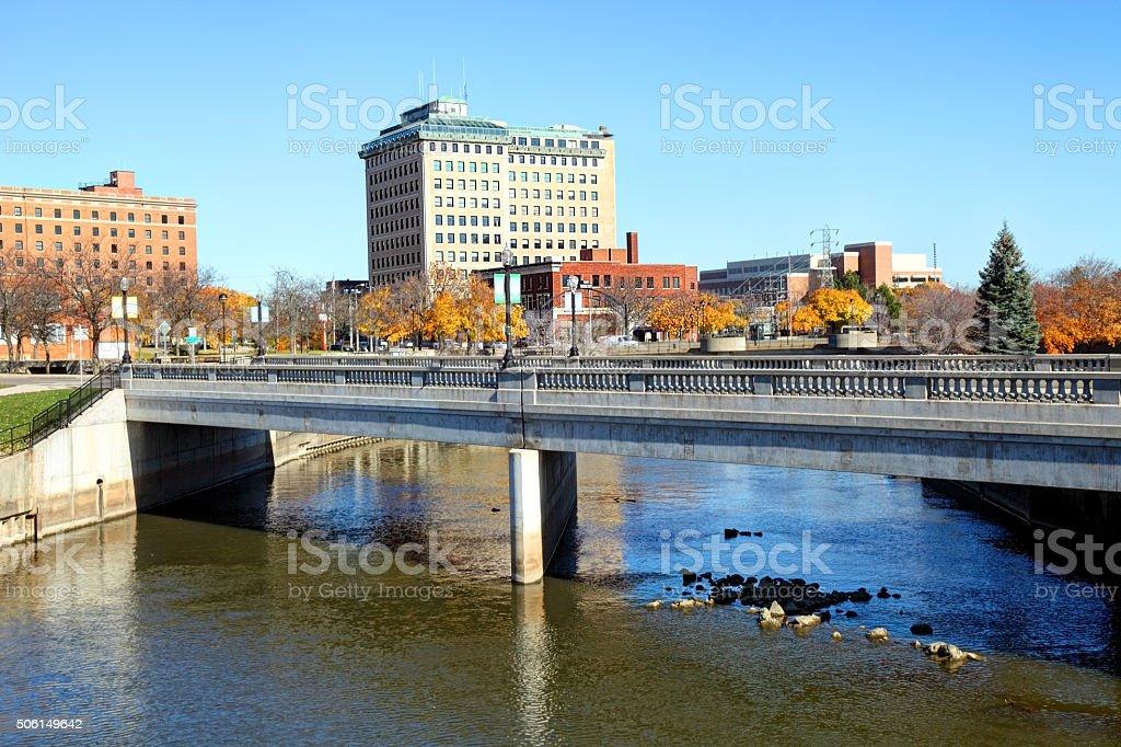 Flint River, Flint Michigan stock photo
