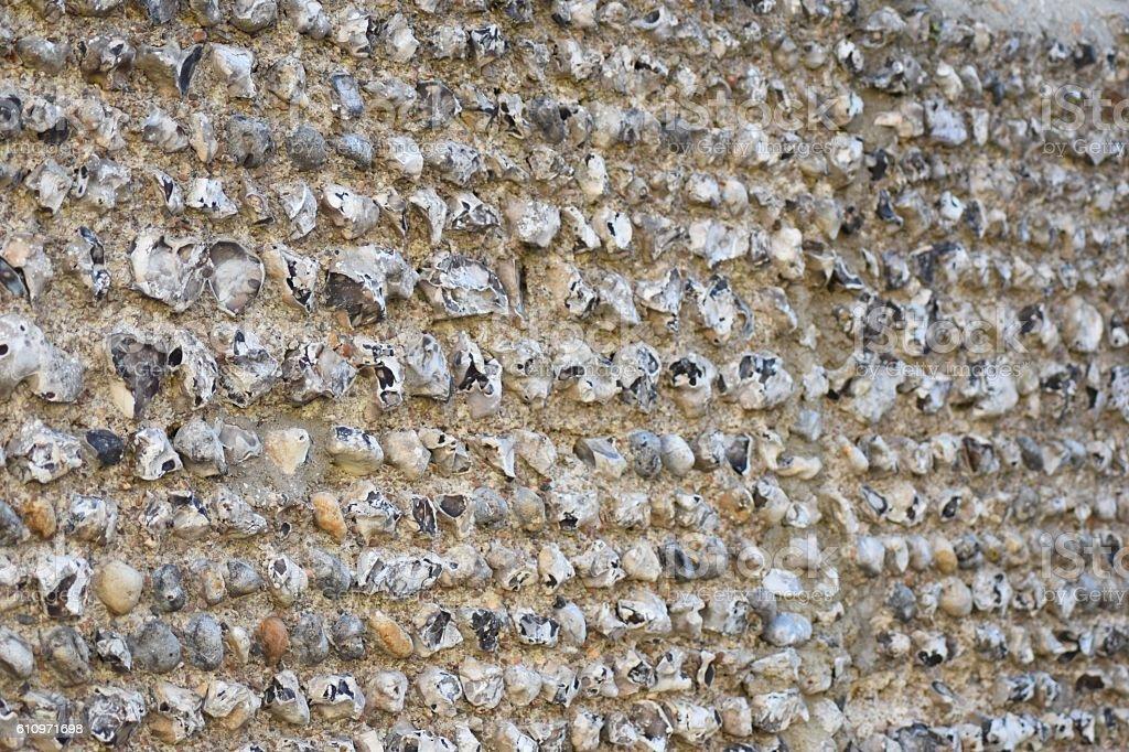 Flint wall of church stock photo