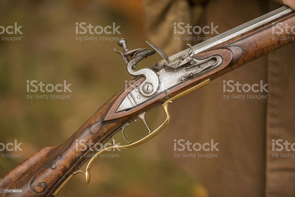 Flintlock rifle detail. royalty-free stock photo