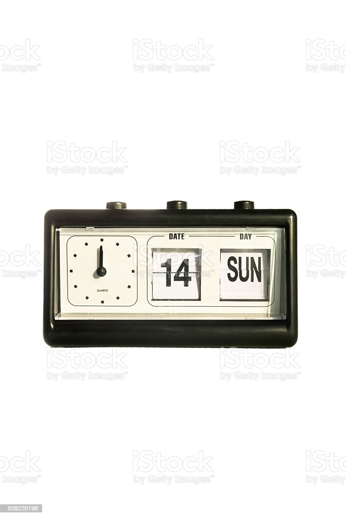 Flip clock and calendar retro style in white background stock photo