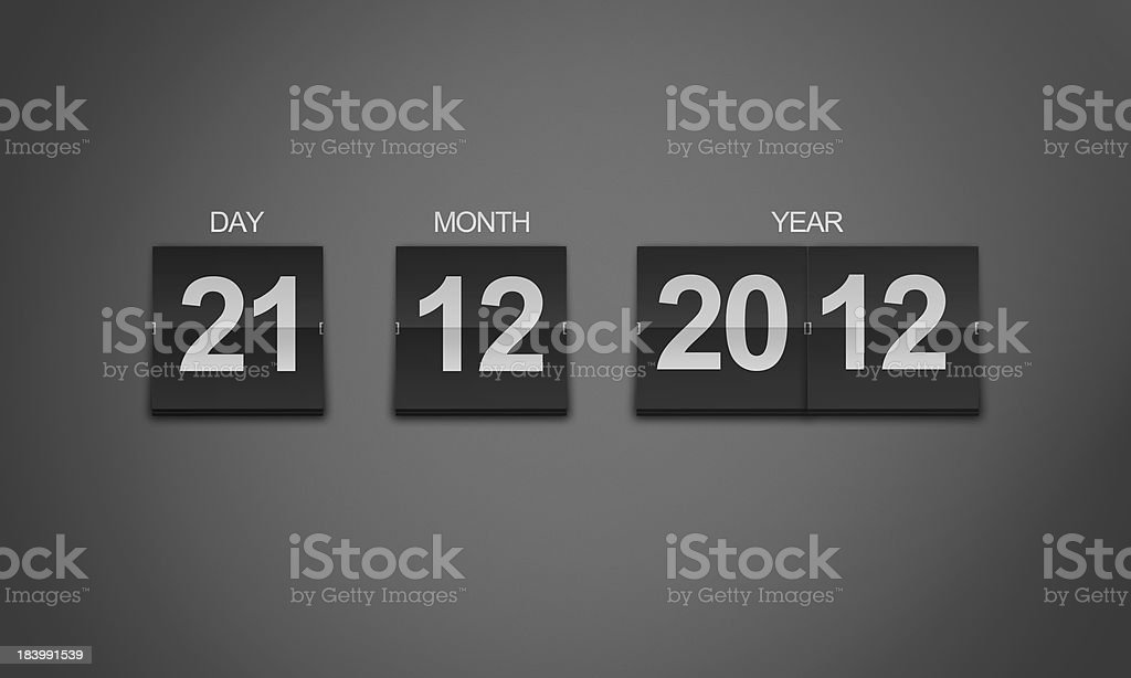 Flip Clock Countdown To Doomsday 21 December 2012 stock photo