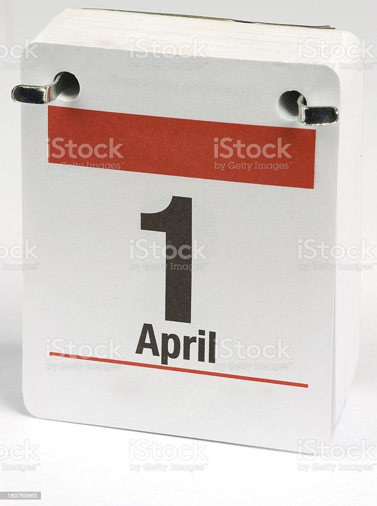 Flip Desktop Callendar April 1st stock photo