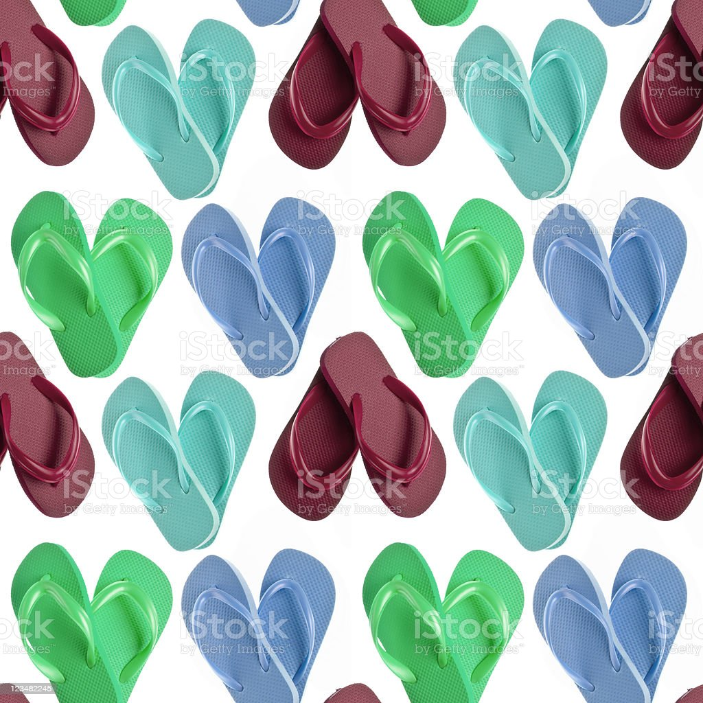 Flip Flop Sandals in Heart Shapes Seamless Background royalty-free stock photo