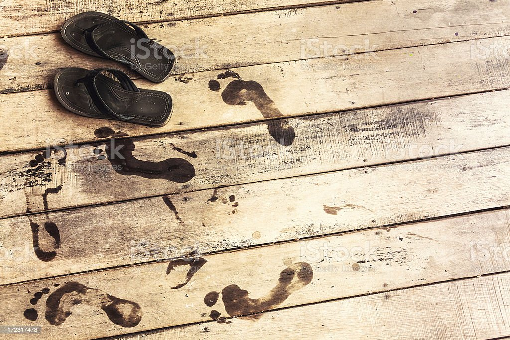 Flip Flops and Footprints, Summer Vacation royalty-free stock photo