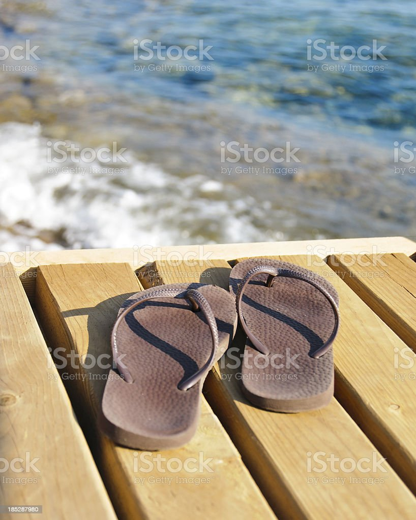 Flip flops and vacation royalty-free stock photo