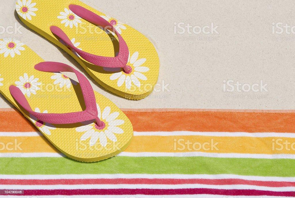 Flip flops at beach stock photo