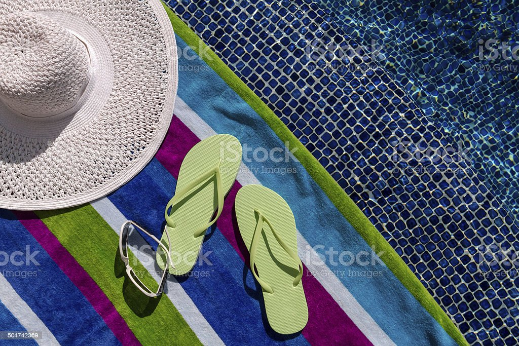 Flip Flops by the Pool stock photo