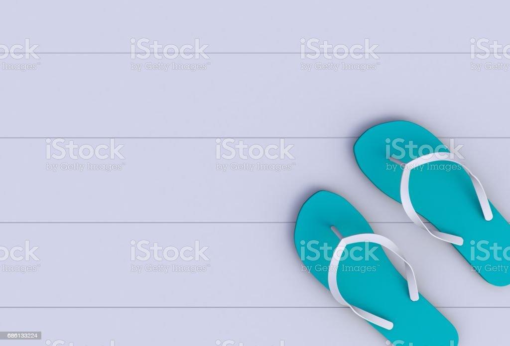 Flip flops on white wooden floor, 3D rendering stock photo