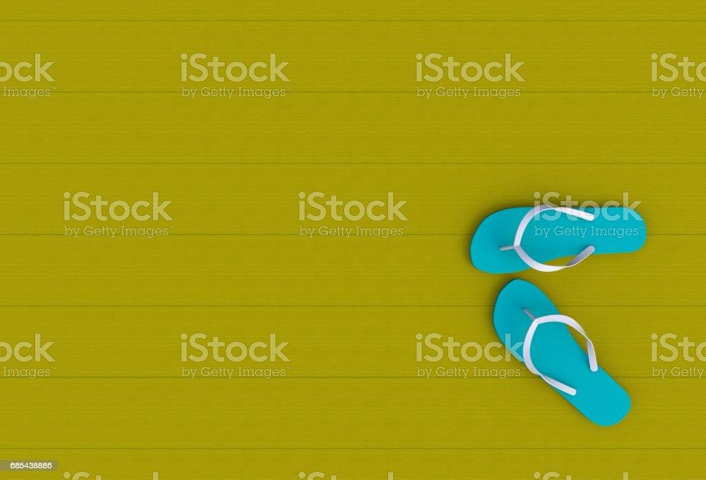 Flip flops on yellow wooden floor, 3D rendering stock photo